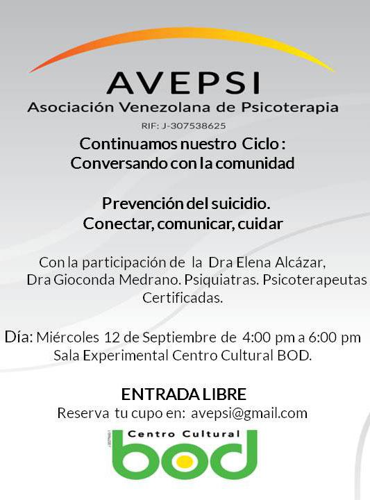 Conversatorio: Prevención Del Suicidio. Conectar, Comunicar, Cuidar